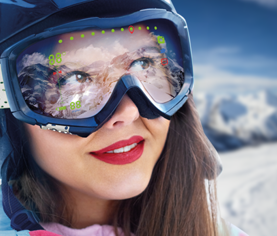 Lady with augmented reality ski goggles