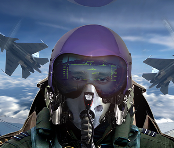 Military with head-up display